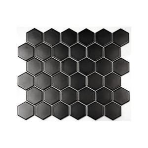 Mosaik Hexagon Svart Matt...