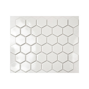 Mosaik Hexagon Vit Blank...